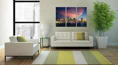 3P Miami America United States Skyline Sunset B&W Urban Large Wall Art  Valentine Day WorldWide International  Free Shipping Perfect Gift by aestheticspaces. Explore more products on http://aestheticspaces.etsy.com