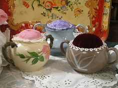 Sugar Bowl Pincushions. ~  Sugar Bowls with  out lids??? Don't fret...look what you can make, now!! darling, aren't they??
