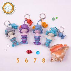 Crochet Mermaid doll Keychain Amigurumi Mermaid by dsMouseBears
