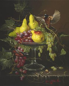 painting by Yana Movchan - Beauty will save Art Floral, Art Environnemental, Still Life Images, Still Life Fruit, Indian Art Paintings, Contemporary Paintings, Fruit Painting, Renaissance Paintings, Caravaggio