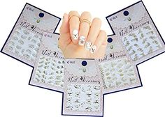 Gold Leaves  Butterflies Nail Art Water Slide Tattoo Sticker5 Pack * Want additional info? Click on the image. Note:It is Affiliate Link to Amazon.