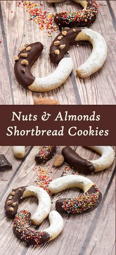Nuts and Almonds Shortbread Cookies, covered with chocolate and powdered Sugar