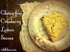 Cranberry Lemon Scones ~ A Grain & Gluten-Free Recipe Wheat Free Recipes, Healthy Gluten Free Recipes, Gluten Free Breakfasts, Gluten Free Desserts, Vegan Gluten Free, Snack Recipes, Brunch Recipes, Healthy Options, Vegan Recipes