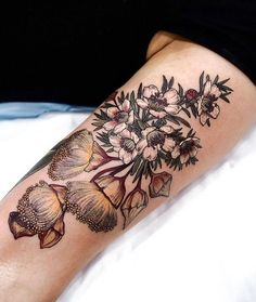 💛 these are flowering gums and wax flowers badass tattoos, life tattoos, n Badass Tattoos, Life Tattoos, Body Art Tattoos, New Tattoos, Tatoos, Flor Tattoo, Arm Tattoo, Tattoo Time, Pretty Tattoos
