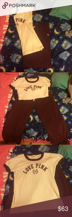 """Pink vs shirt and sweatpants set I got this as a Christmas present from my mom as a set. She said she paid around $75. I don't really like the fit of the shirt on me and the sweatpants are too short on me. I'm 5'10"""" so if you're shorter it'll be perfect on you. I would like to keep this set together when selling. Very selective trading. I only wore this one time and then washed it. Nothing wrong with it at all! PINK Victoria's Secret Tops Tees - Short Sleeve"""