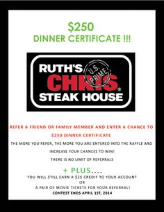Who here has been to Ruth's Chris Steakhouse? Delicious right? Now you have a chance to win a $250 gift card to Ruth's Chris! Yum! :D