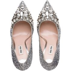 Miu Miu PUMPS ($835) ❤ liked on Polyvore featuring shoes, pumps, high heeled footwear, miu miu, swarovski crystal shoes, miu miu shoes and decorating shoes