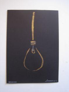 gold black lightbulb gold black art monoprint by Rabbitsreverie