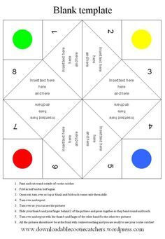 blank template for cootie catcher/fortune teller I can think of all kinds of things to do with this....how about visual sections rather than verbal?
