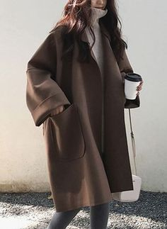 2019 Fall Winter Women Simple Cashmere look Maxi Long Robe Loose Coat Female Woolen Outerwear manteau femme abrigos mujer Winter Fashion Outfits, Look Fashion, Korean Fashion, Autumn Fashion, Womens Fashion, Korea Winter Fashion, Fashion Trends, Winter Coat Outfits, Fashion Coat