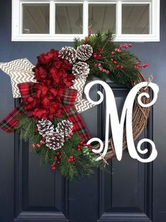 Christmas Wreath, Hydrangea Wreath, Monogram Wreath, Winter Wreath, Snowy Pine Wreath, Front Door Wreath, Red Hydrangea, Christmas Decor