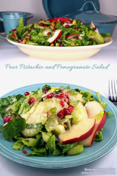 Crisp fruits and vegetables in colorful holiday hues and crucnchy pistachios sparkle like jewels in my delicious Pear, Pistachio and Pomegranate Salad.