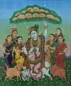 REVIVAL – Karnataka Chitrakala Parishath Yashoda Krishna, Krishna Radha, Mysore Painting, Madhubani Painting, Traditional Paintings, Traditional Art, Indian Arts And Crafts, Indian Art Paintings, Hindu Deities