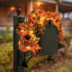 Take your Thanksgiving decorations outside by dressing up your mailbox with this beautiful Lighted Autumn Mailbox Swag.