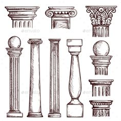 Buy Arabic Architecture Engraved Columns by studioworkstock on GraphicRiver. Arabic architecture columns engraved illustration with stone marble pillar vector set isolated. Gothic Architecture Drawing, Perspective Architecture, Interior Architecture Drawing, Architecture Antique, Architecture Drawing Sketchbooks, Classic Architecture, Concept Architecture, Landscape Architecture, Architecture Apps