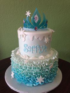 Frozen/Elsa birthday cake with ruffles