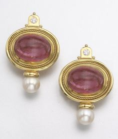 18K GOLD, TOURMALINE, CULTURED PEARL AND DIAMOND EARCLIPS, ELIZABETH GAGE