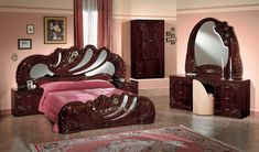 italian bedroom sets on sale | Home / Vanity Mahogony Italian Classic 5-Piece Bedroom Set