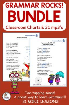 Are you looking for Grammar mini-lessons?  Would you like to teach Grammar through music?   This Grammar Rocks! BUNDLE is an outstanding resource that includes Classroom Charts, and 31 mp3's performed to a toe-tapping garage-band beat. Topics  include: Proper Nouns, Plurals, Verbs, Adjectives, Compound Words, Homonyms, Conjunctions, Grammar Practice, Teaching Grammar, Grammar Lessons, Phonics Programs, Teaching Programs, Classroom Charts, Classroom Resources, Noun Song