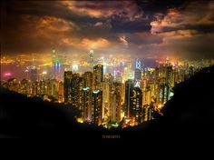 Hong Kong & Kowloon by night from the Peak [The World's Most Beautiful Skyline by Tomasito.!, via Flickr]