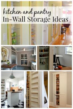 Kitchen and Pantry In-wall storage ideas via remodelaholic.com