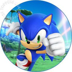 EDIBLE Sonic the Hedgehog Birthday Cake Topper Wafer Paper Round (uncut) - Modern Bolo Sonic, Sonic Cake, Sonic Sonic, Sonic And Amy, Hedgehog Cake, Hedgehog Birthday, Sonic The Hedgehog, Sonic Birthday Parties, Sonic Party
