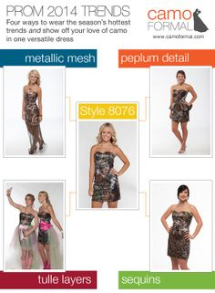 Combine Prom 2014's most fashionable styles with your favorite camo pattern to creat the camopromdress of your dreams at camoformal.com.
