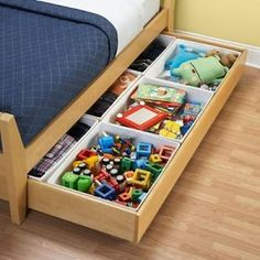 Underbed storage for small toys.  Good idea! I have this now just need to go to ikea and get the small seperators
