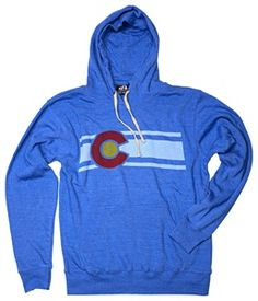 8a3be3044 Stay comfy in this classic blue hoodie with screen printed Colorado flag.  Made with super soft heathered triblend fabric.