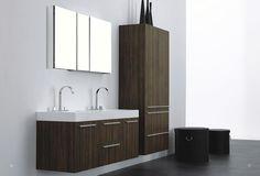 """Aqua Decor Austin 54.3"""" Walnut Modern Double Sink Bathroom Vanity W/ Medicine Cabinet - Double Vanity Sets - VANITIES - Bathrooms"""