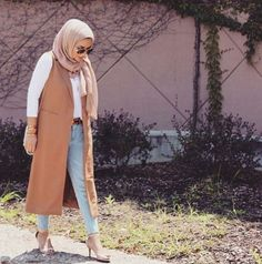 classy vest hijab outfit