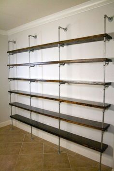 Industrial Shelving Unit, Industrial Office furniture, Office shelving, Urban pipe shelving, Metal and wood shelving – Home Office Design İdeas Industrial Shelving Units, Wood Shelves, Glass Shelves, Metal Pipe Shelves, Plumbers Pipe Shelving, Galvanized Pipe Shelves, Vintage Industrial Furniture, Industrial House, Industrial Office Design