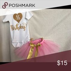 Re Posh A 6m Glittery Birthday Onesie I bought it here, and took my baby's pics, by the way came out adorable!!😍 used only for about an hour. Don't need it any more. Thanks for stopping by!💕 TUTU Sold on a separate listing! One Pieces Bodysuits