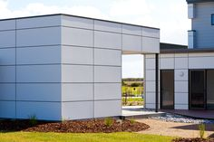 The panels are robust and strong while also maintaining lightweight qualities, and they're highly suitable for wall and facade linings in commercial or public buildings such as large facilities and halls, and also in residential settings. Cladding Panels, Wall Cladding, Cement Board Siding, External Cladding, Public Architecture, Facade House, House Facades, City Living, Building A House