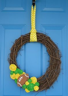 My DIY rolled fabric flower wreath! Go Packers!