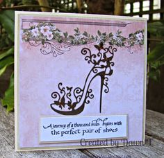 Using QuietFire The <b>Perfect</b> <b>Pair</b> of Shoes stamp, Tattered Lace Cards, Lace Shoes, Embossed Cards, Beautiful Handmade Cards, Die Cut Cards, Cut Paper, Handmade Birthday Cards, High Heel, Card Ideas