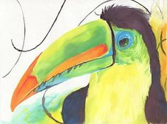 Brazil Paintings - Toucan by Raquel Ventura