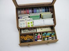 Miniature dollhouse counter display for haberdashery in 1:12 scale
