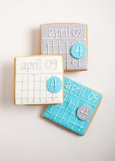 These cute cookies from The Flour Pot are intended to be Save The Date cookies: But I think they would be really cute for a baby shower w. Royal Icing Cookies, Cupcake Cookies, Cookie Favors, Edible Cookies, Fancy Cookies, Custom Cookies, Sugar Cookies, Date Cookies, Unique Save The Dates