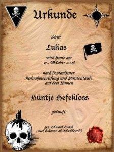 Urkunde Piratengeburtstag