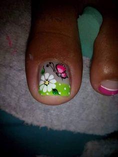 Pedicure Designs, Toe Nail Designs, Nail Polish Designs, Cute Pedicures, Nails Only, Polka Dot Nails, Girls Nails, New Nail Art, Fabulous Nails