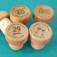 Adult Birthday Personalized Wood Bottle Stopper- Cheers to the Years! Add these rustic and natural trendsetting wood bottle stoppers to your must-have favors. Ducky Days' personalized wood bottle stoppers are the perfect, personalized way to thank yo Birthday Cheers, Birthday Party Favors, Birthday Ideas, Wine Favors, Beach Wedding Favors, Personalized Favors, Bottle Stoppers, Cork, Wine Lover