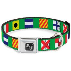 Buckle-Down 13-18' Nautical Flags Green/Multi Color Dog Collar Bone, Wide Small * You can find out more details at the link of the image. (This is an affiliate link and I receive a commission for the sales)