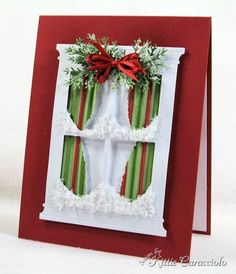 Snowy Christmas Window by - Cards and Paper Crafts at Splitcoaststampers Christmas Cards To Make, Noel Christmas, Xmas Cards, Handmade Christmas, Holiday Cards, Christmas Crafts, Christmas Windows, Winter Karten, Memory Box Cards
