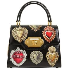 Dolce & Gabbana Women Medium Welcome Sacred Hearts Leather Bag ($3,375) ❤ liked on Polyvore featuring bags, handbags, black, print handbags, heart shaped handbag, leather handbags, print purse and top handle leather handbags