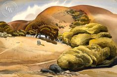James Hollins Patrick - The New Puppy, 1938 – California Watercolor