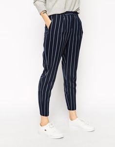 Image 4 of ASOS High Waisted Peg Trouser in Stripe