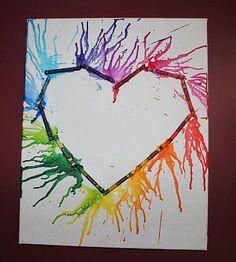 Heart Crayon Art Heart Crayon Art, Cool Art, Painting, Painting Art, Paintings, Painted Canvas, Drawings