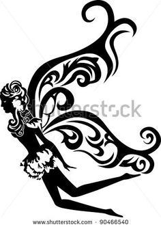 beautiful flying fairy stencil - stock vector