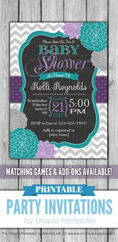 Printable teal, purple & gray floral baby shower invitation with grey & white chevrons & flowers. Perfect for a girl baby shower. Elegant aqua blue, lavender & turquoise digital party invite template to fit your shower idea, style or theme. This customized announcement card will be personalized with your custom text. DIY file that you can download and print at home. Matching diaper raffle tickets, book for baby insert, bingo game, thank you note, RSVP notecard & water bottle labels…